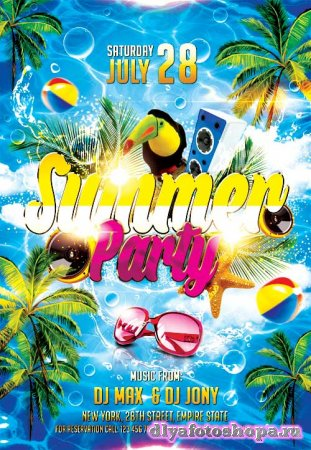 Summer sea party psd flyer template