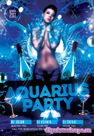 Aquarius Party V2 psd flyer template