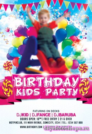 Kids party psd flyer template