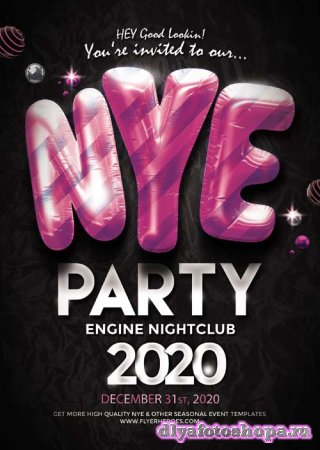 NYE Party psd flyer template